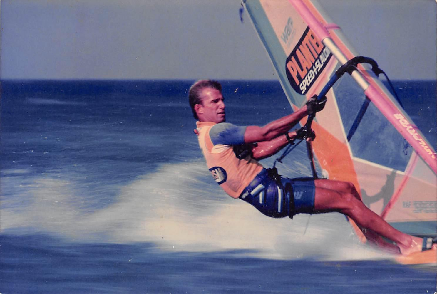 - In the summer of '82 my friend Pierre Bouret gave me a windsurfing lesson in Hanalei Bay and that was it- my life changed. We windsurfed every day that summer. At the time I was the only shaper on Kauai who actually windsurfed and because of that I immediately had 4 orders for windsurfers before even having shaped one. The friends I was shaping boards for also needed the sail and rigging so we pooled our money and I went to Oahu and opened a dealership with Hugh England at Windsurfing Hawaii.Photo: Charlie Cowden | Planters Speed Week, Sotavento, Canary Islands | 1987 | By Steve Wilkens