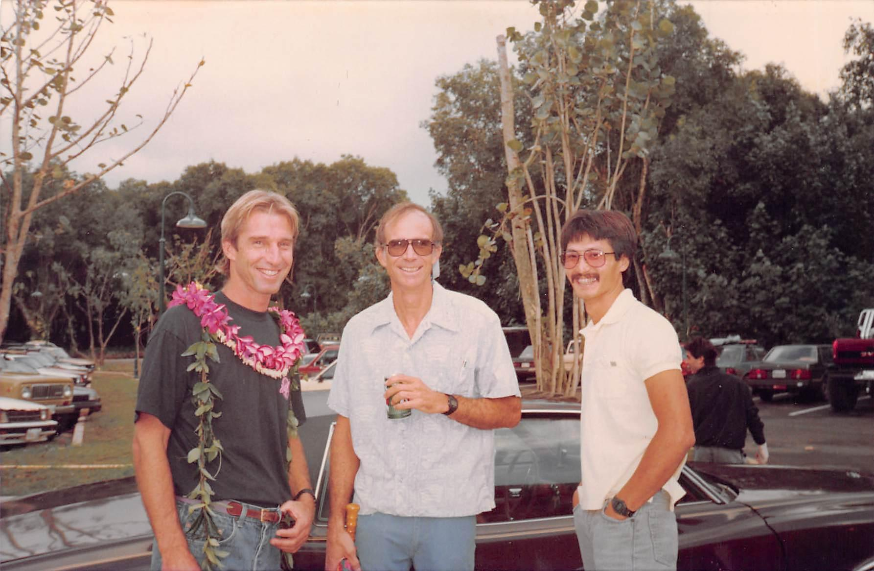 Hanalei Surf Company's grand opening — Charlie Cowden, Gaylord Wilcox, Keith Ching — November 18, 1989