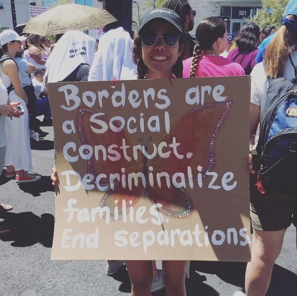 Marcela Rodgriguez-Campo protesting current U.S. immigration policies.