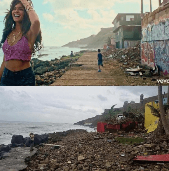 "The video location of ""Despacito"" before and after Hurricane María"
