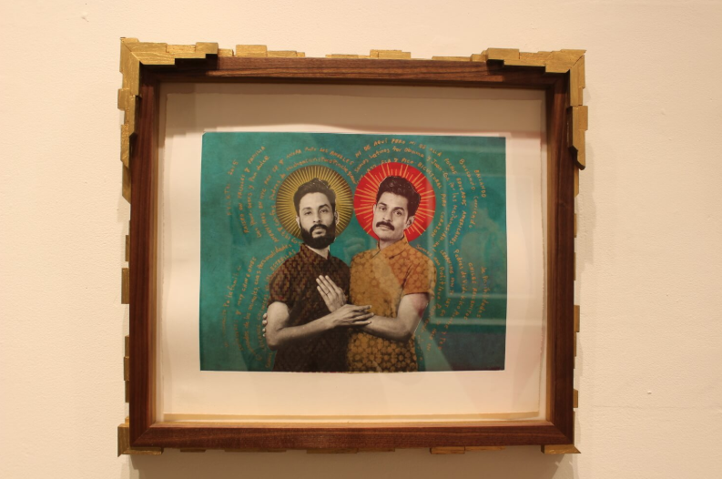 "Gabriel García Román,  Carlos & Fernando , photogravure with chine-colle and silkscreen, 18"" x 15"", 2016"