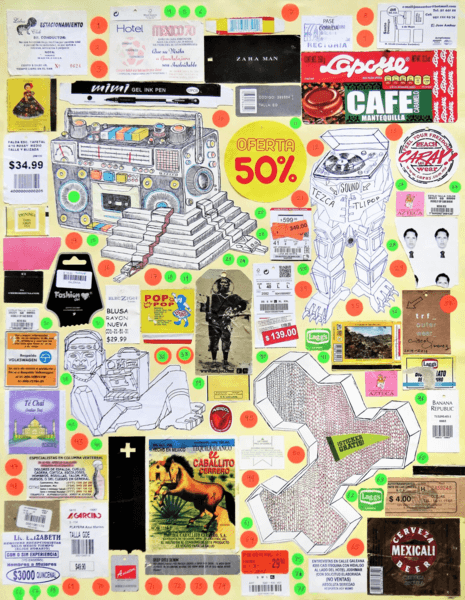 Cisco Jiménez,  Mexico 70 , 2014-2016. Collage and drawings