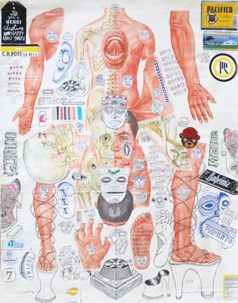 Cisco Jiménez,  A Bailar , 2018. Collage with drawing