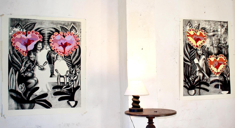 View of artist's work during Tilleard Art Residency