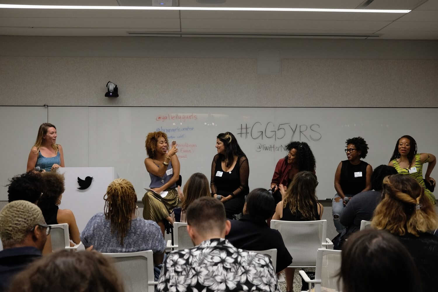 Hernandez with Arielle Adkins, Jasmine Wahi, Marquita Harris, Janel Martinez, and Ayana Evans at Gallery Gurls Five Year Blogiversary at Twitter HQ, NYC. 2017. Photo by Cidney Hue