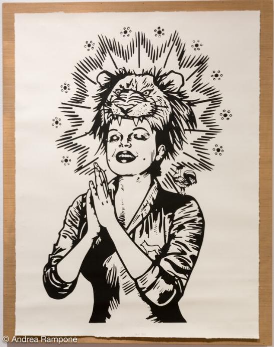 "Ashley Mireles,  Judy Vitus , Serigraph on panel, 48"" x 38,"" 2017"