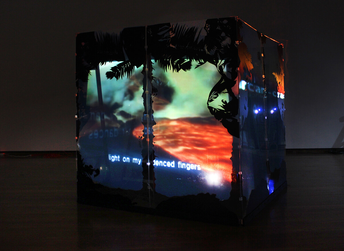 At the End of Daybreak , semi-translucent cube, audio-visual installation, 2017