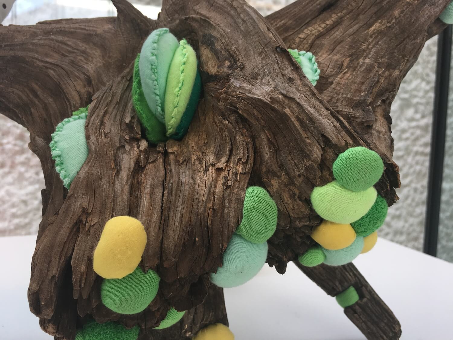 Green & Polka Dot Symbiote ,   detail, Soft sculpture and found wood