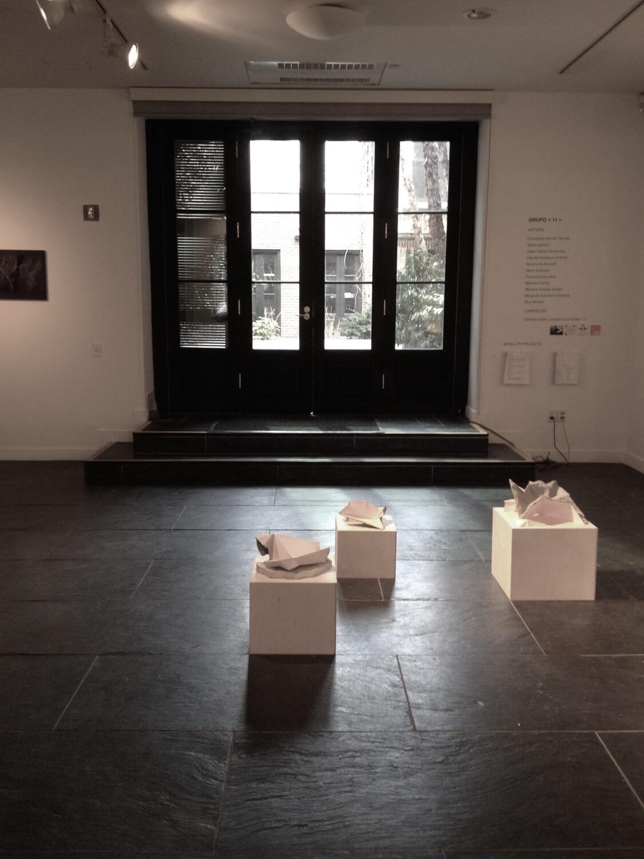 Mariana Garibay Raeke,  Transient Samples from Somewhere  (16 x 16 x 26),  Transient Samples from Nowhere  (14 x 14 x 22),  Transient Samples from Anywhere  (12 x 12 x 18), 2017, plaster, cement, paper, pigment, wood