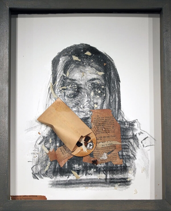 Andrei Renteria,  Samples , 2016. Lithograph, discarded paper, pendant, and human bone fragments. Private Collection of Liz Paris.