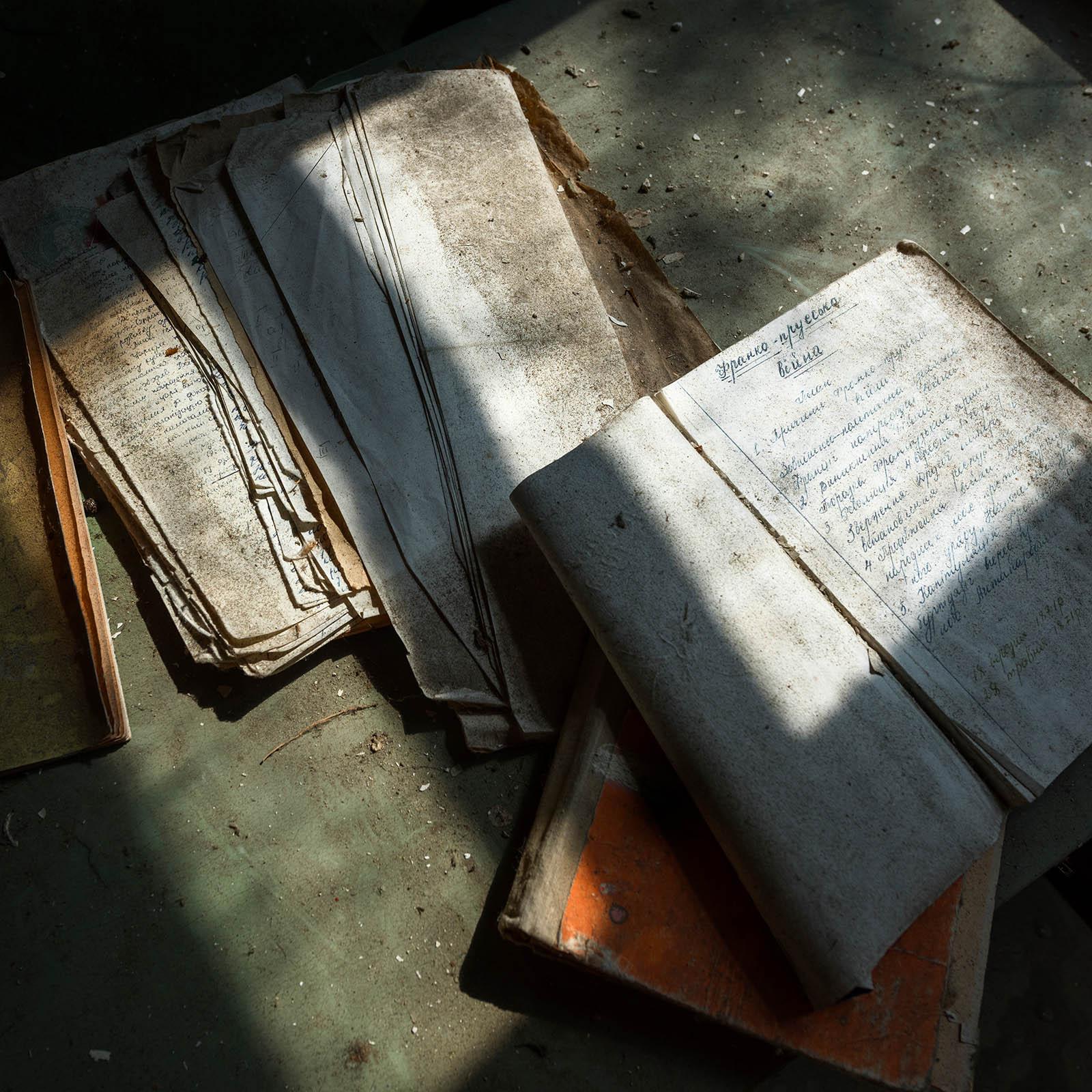 Discarded school books Chernobyl