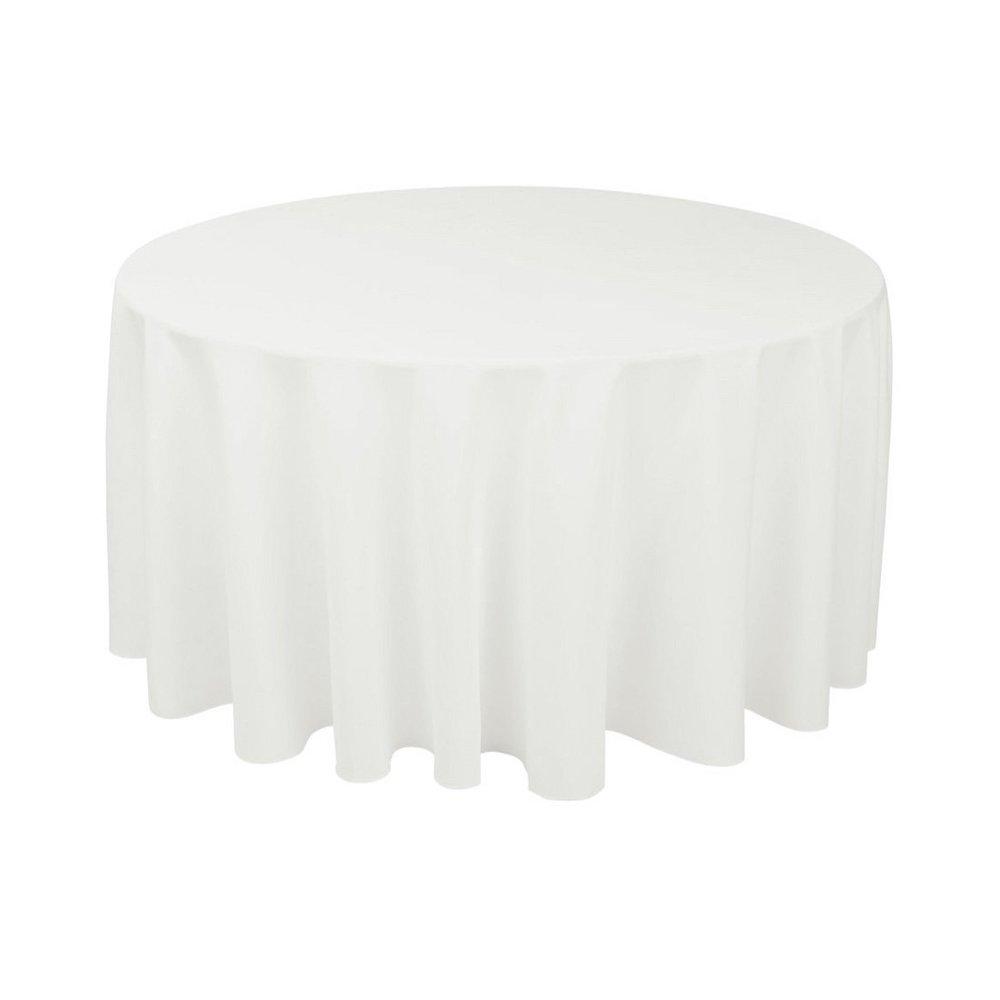 Round Table Cloths White Got It, Round White Tablecloth