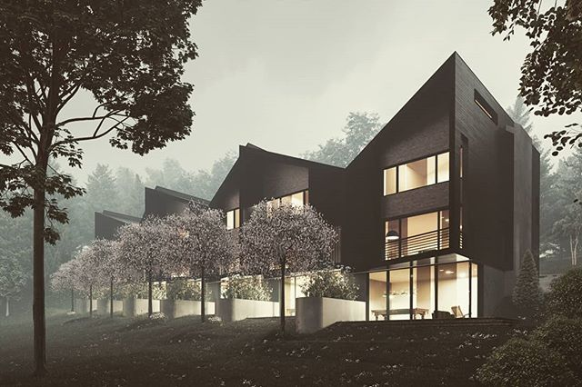 Applying Zdepth and Atmosphere  #render #architecturalvisualization #fstorm #architecture #fog #night #nature #forest #mountain #townhouse #design #newjersey  Designed by domoarchitecture