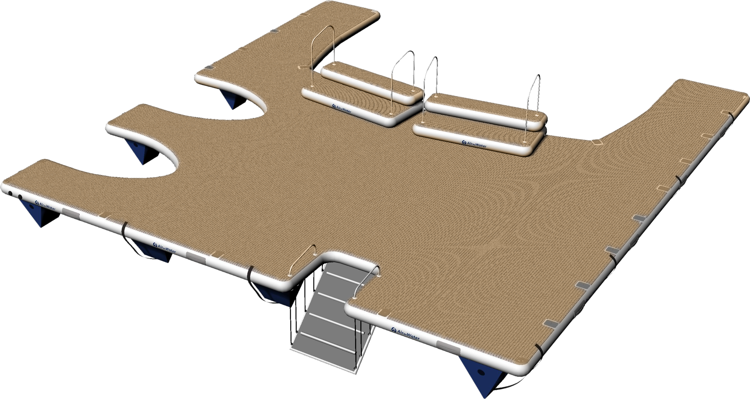 This platform 8.7M wide x 9.0M deep is Custom Designed to fit the yachts stern profile with stairs to transom height, submerged access ladder, 2 jet ski ports and tender docking to the starboard side.