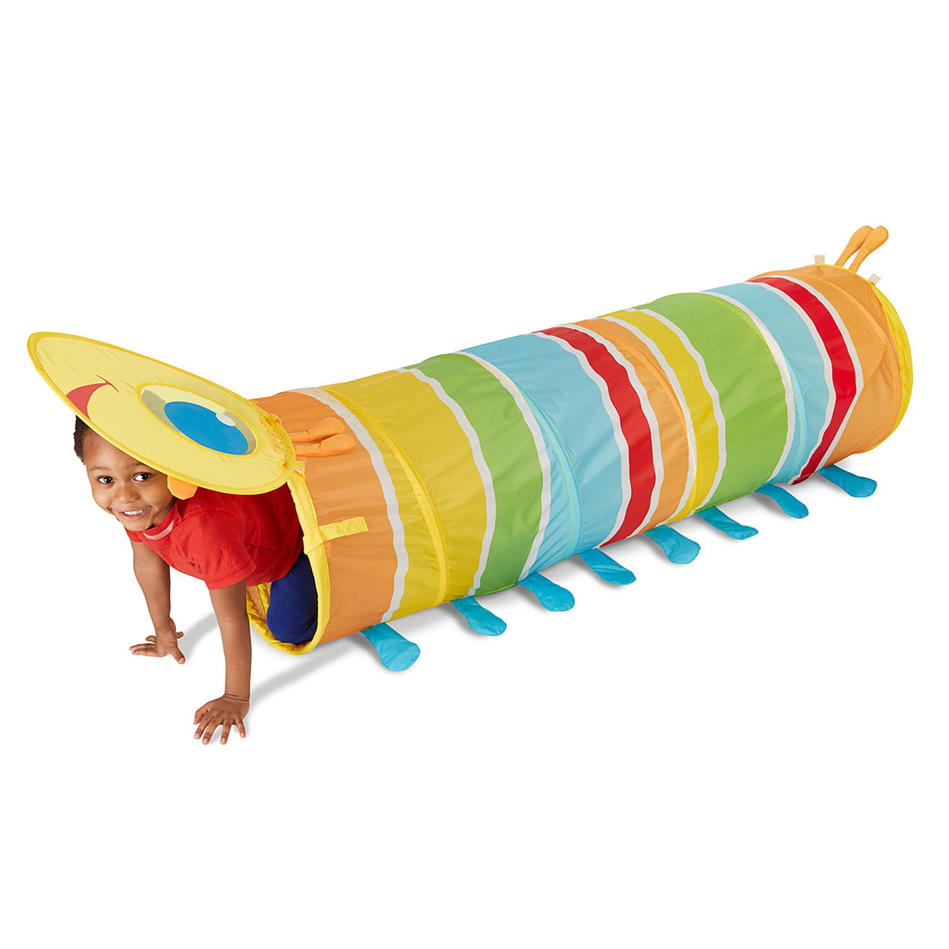 GIDDY BUGGY TUNNEL (Melissa & Doug, R520)  Giddy Buggy is happy to invite active kids to crawl through a rainbow of colour in this bright tunnel. Giddy's smiling face covers one end, making it extra fun to hide and seek in this nearly five-foot-long tube. Made of durable wipe-clean materials, it sets up quickly and easily folds flat for convenient storage. Sturdy steel frame is padded for comfort and hours of activity. Crawling through this tunnel promotes gross motor skills, arm strength and co-ordination in a fun and exciting activity.  Suitable for ages 3 years and older.