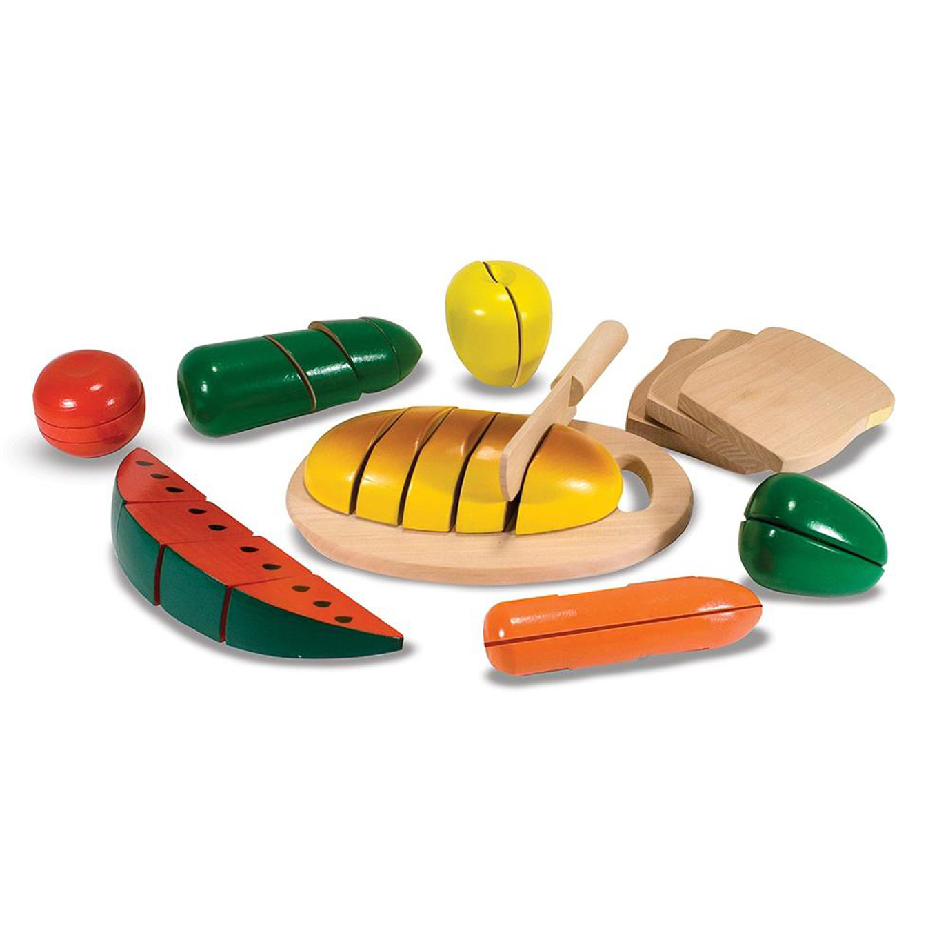 "CUTTING FOOD BOX – WOODEN PLAY FOOD (Melissa & Doug, R340)  This set contains 25 hand-crafted wooden pieces, making up 8 'whole' pieces of wooden food, a cutting board and a wooden knife. Cutting the food makes a satisfying ""crunch"" - and a playful introduction to concepts of ""whole"", ""part"", and fractions. This activity promotes bilateral skills (using two hands together) and introduces the self-care concept of eating and cutting up one's own food.  Suitable for ages 3 years and older."