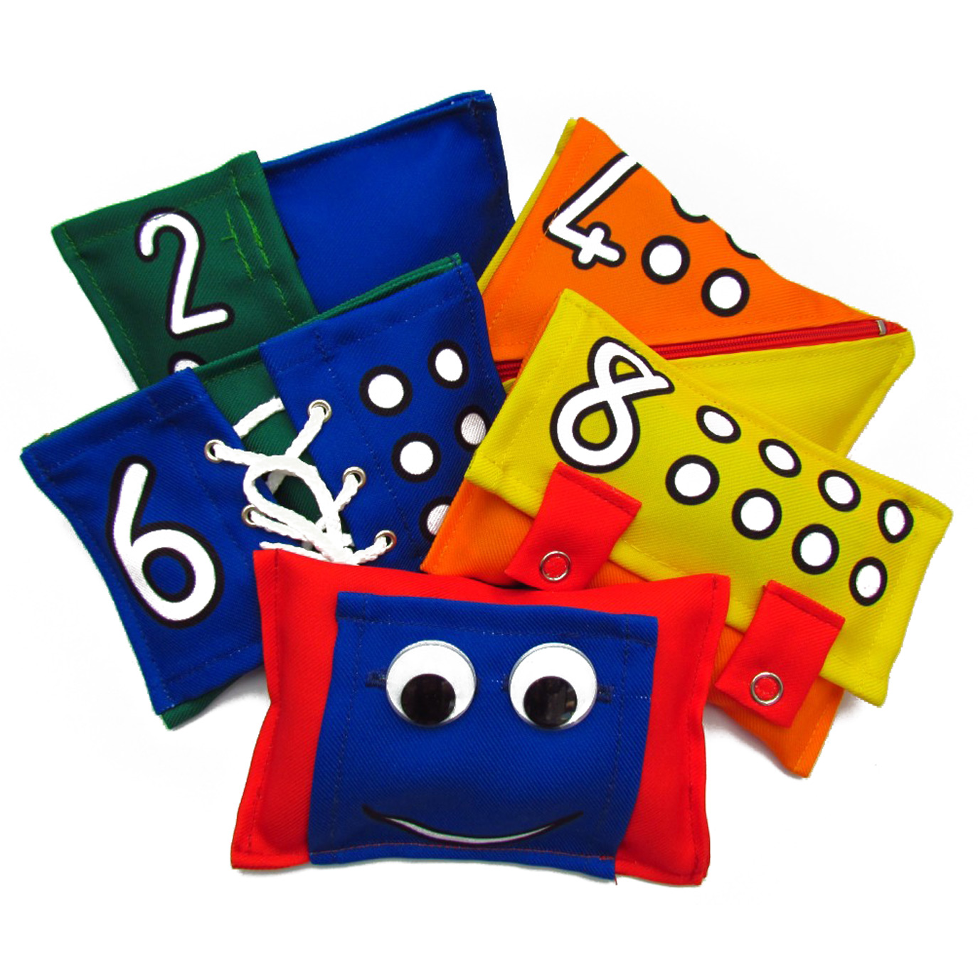 EDUBEANS BEAN BAGS (R230) The play and learning opportunities with this set of EduBeans is mind-blowing. The five brightly coloured bean bags have numbers and corresponding dots to help with perceptual skills. The weight of each bean bag differs from the next, which can help children grasp the abstract concept of heavy vs. light; and our favourite part of these cool bean bags is the fine motor and self care skills they promote by having a zip, buttons, lacing, studs and velcro on the one side. Underneath each fastening is also a special shape surprise! :)  A wonderful product that promotes so many developmental skills including gross motor, fine motor, self care and perceptual.  The set includes 20 great educational activity ideas on a card which can be stuck on the fridge for some playtime inspiration.  The bags are machine washable, sized for small hands, and the packaging and filling is made from 100% recycled material.  Suitable for ages 2 years and older.