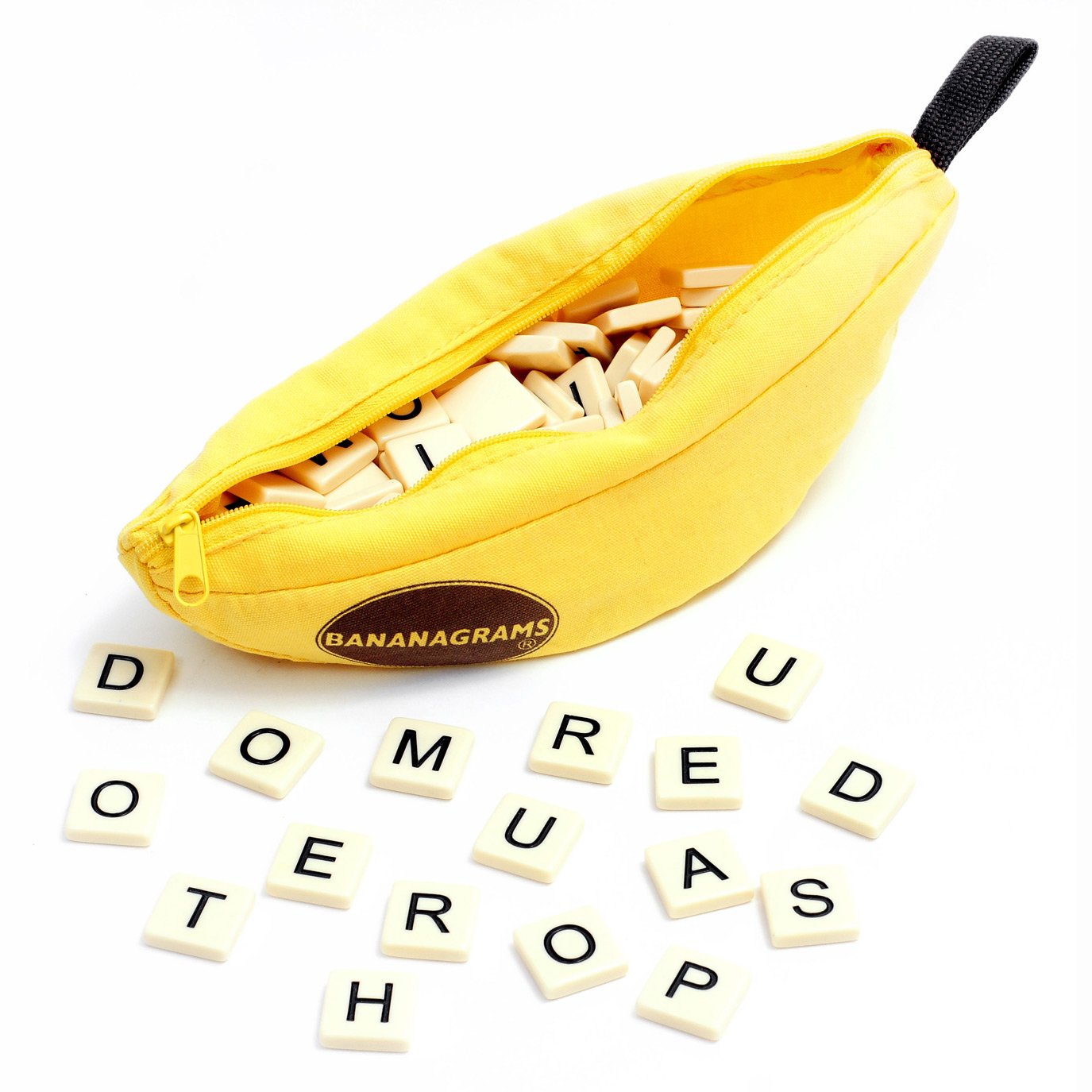 BANANAGRAMS® (R280)   THE ANAGRAM GAME THAT DRIVES YOU BANANAS!  Fast and frantic, players race against each other to build crossword grids. And it requires no pencil, paper, or board. In this addictive word game, speed wins, not points. You'll have a bunch of fun as you race to the finish by using all of your letter tiles first! Bananagrams® comes in a small portable banana-shaped pouch and is perfect for everyone; at home or on the go.  Bananagrams® can be played by 1-8 players and promotes important key developmental skills such as cognitive, perceptual, fine motor and social & emotional.  Suitable for ages 7 years and older.
