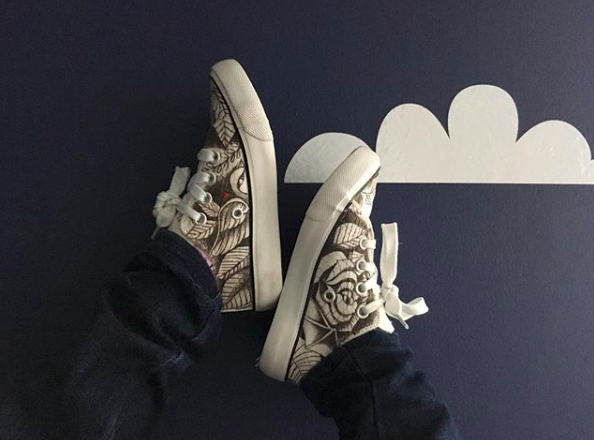 You can commission Megan to ink your shoes with some awesome custom designs. You provide the shoes, she provides the ink. Product-tested here by Megy's four-year-old, Olive. Who better than to test the resilience of some shoe art?