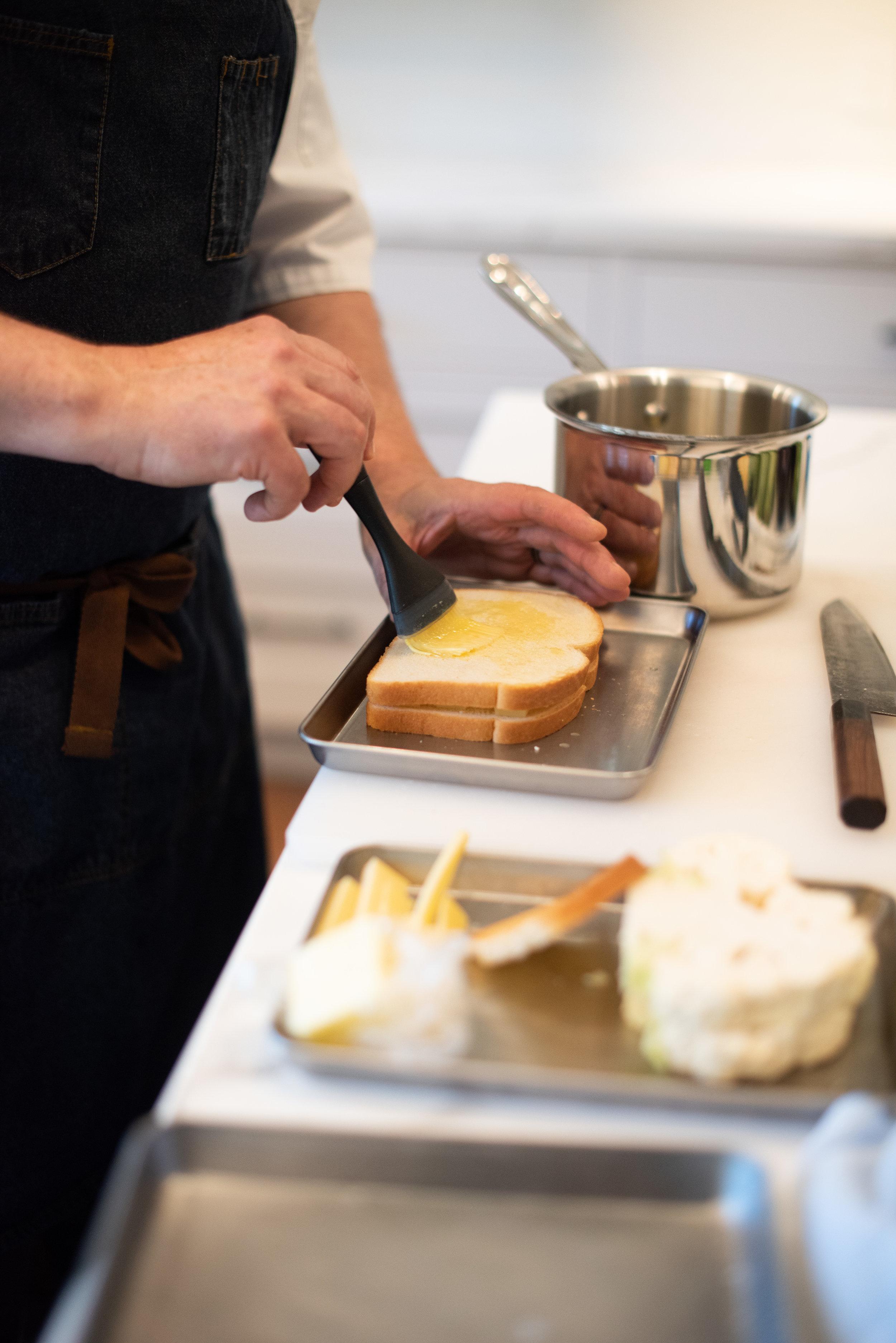 Brushing bread