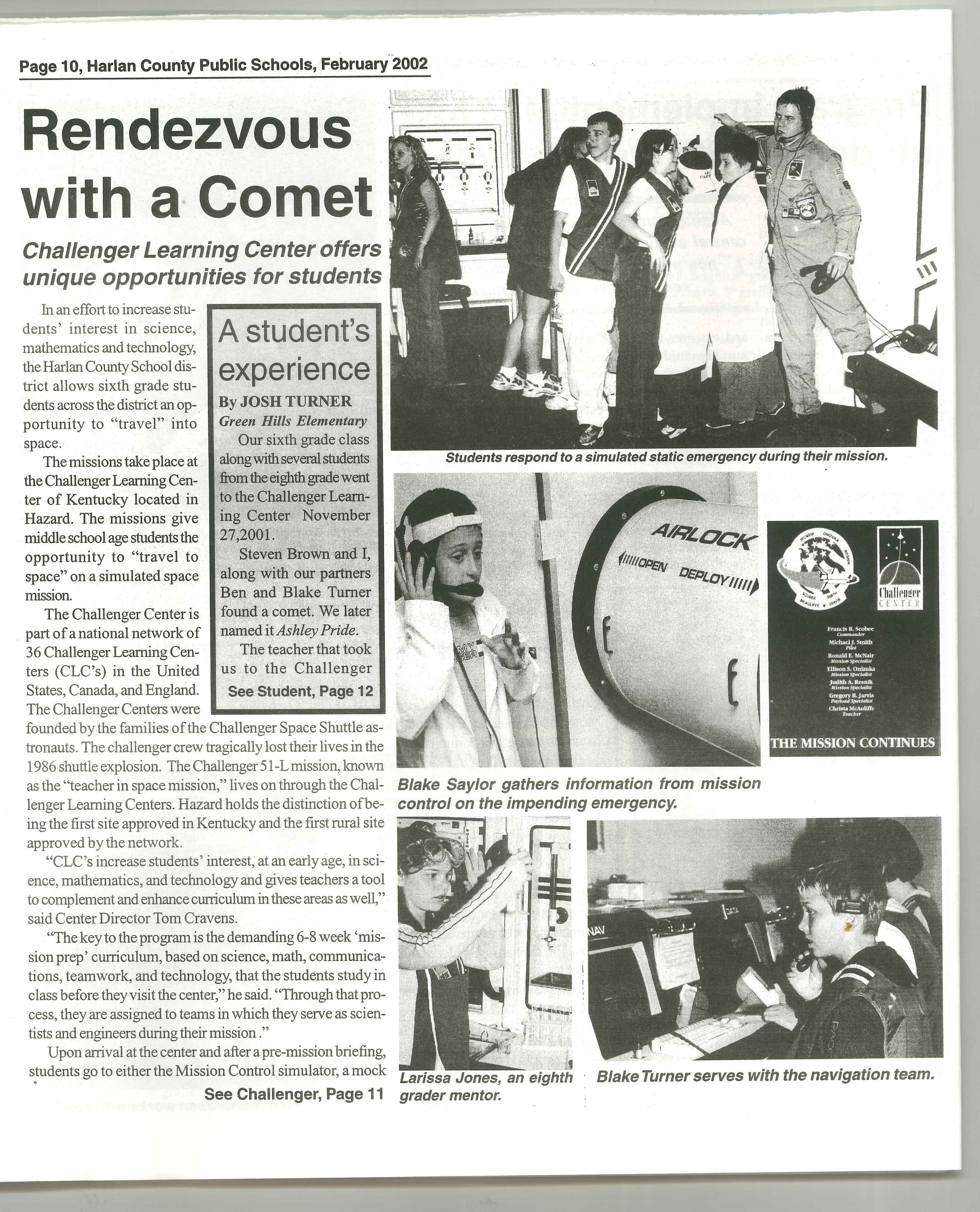2002-02 Harlan County Public Schools District Report Card 2000-2001Rendezvous with a Comet p.10.jpg