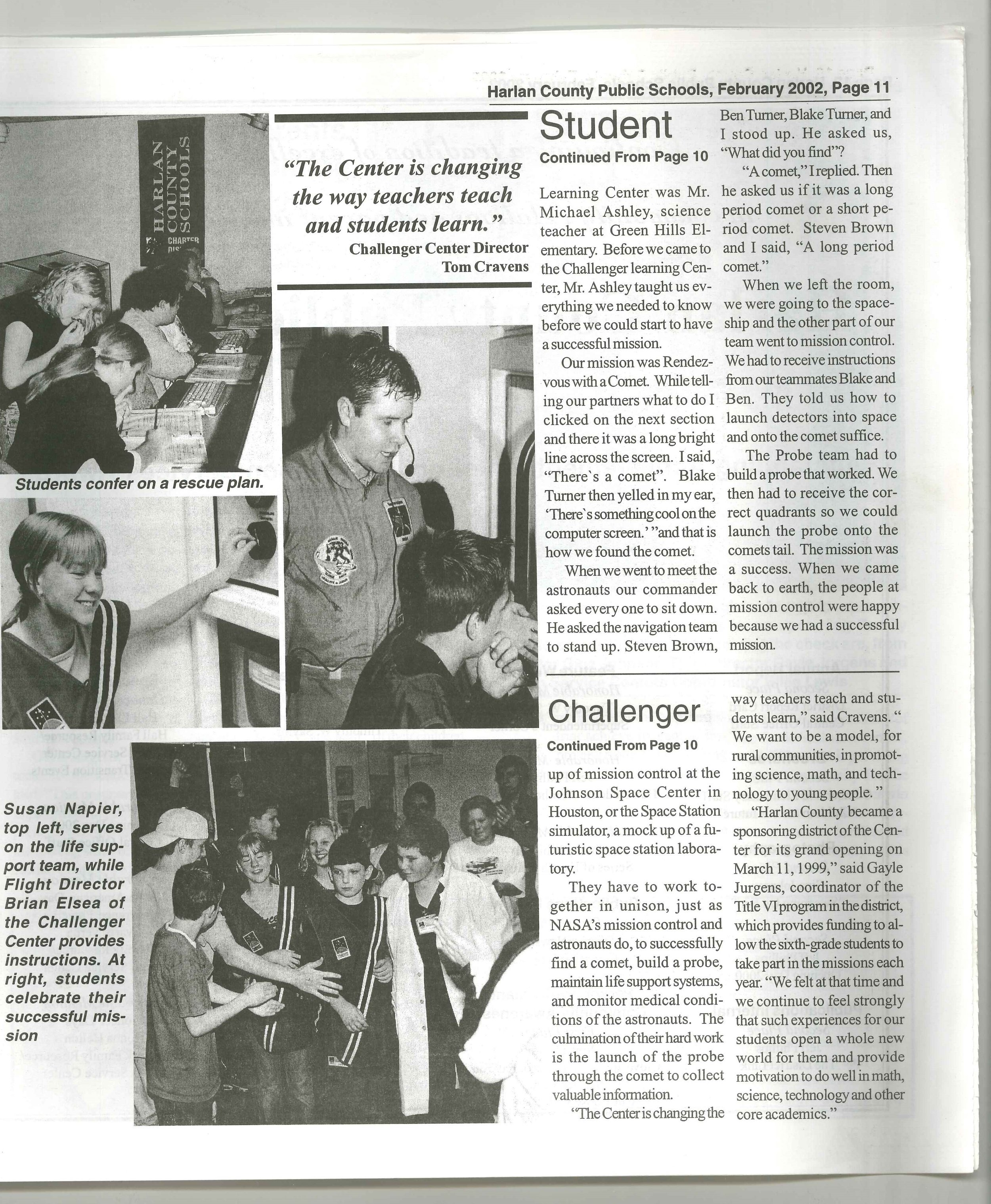 2002-02 Harlan County Public Schools District Report Card 2000-2001Rendezvous with a Comet p.11.jpg