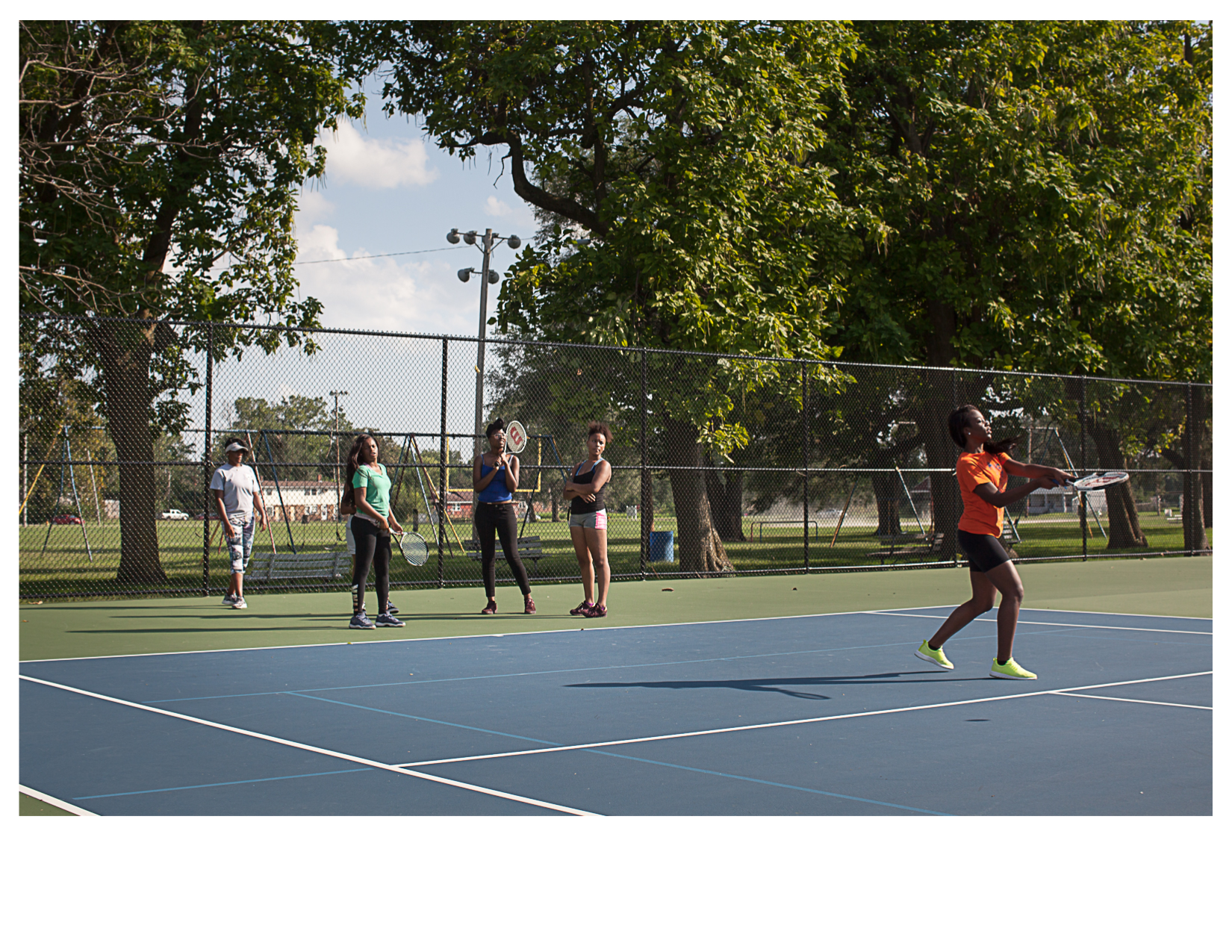 East St Louis High School Girls Tennis Team Practicing in  Lincoln Park, East St. Louis, IL