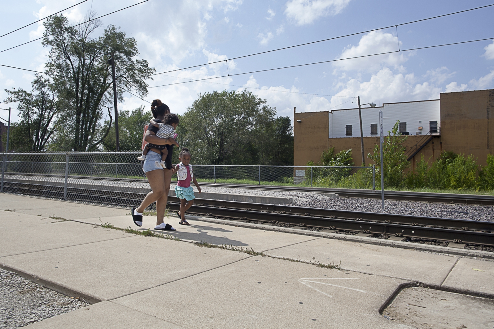Family Leaving Metrolink Train Station, East St. Louis, IL