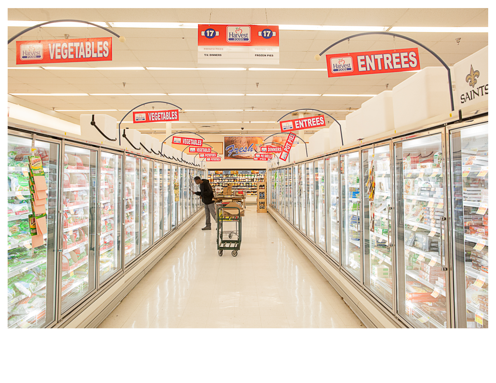 Frozen Food Aisle, Harvest Foods Supermarket, Marksville, LA