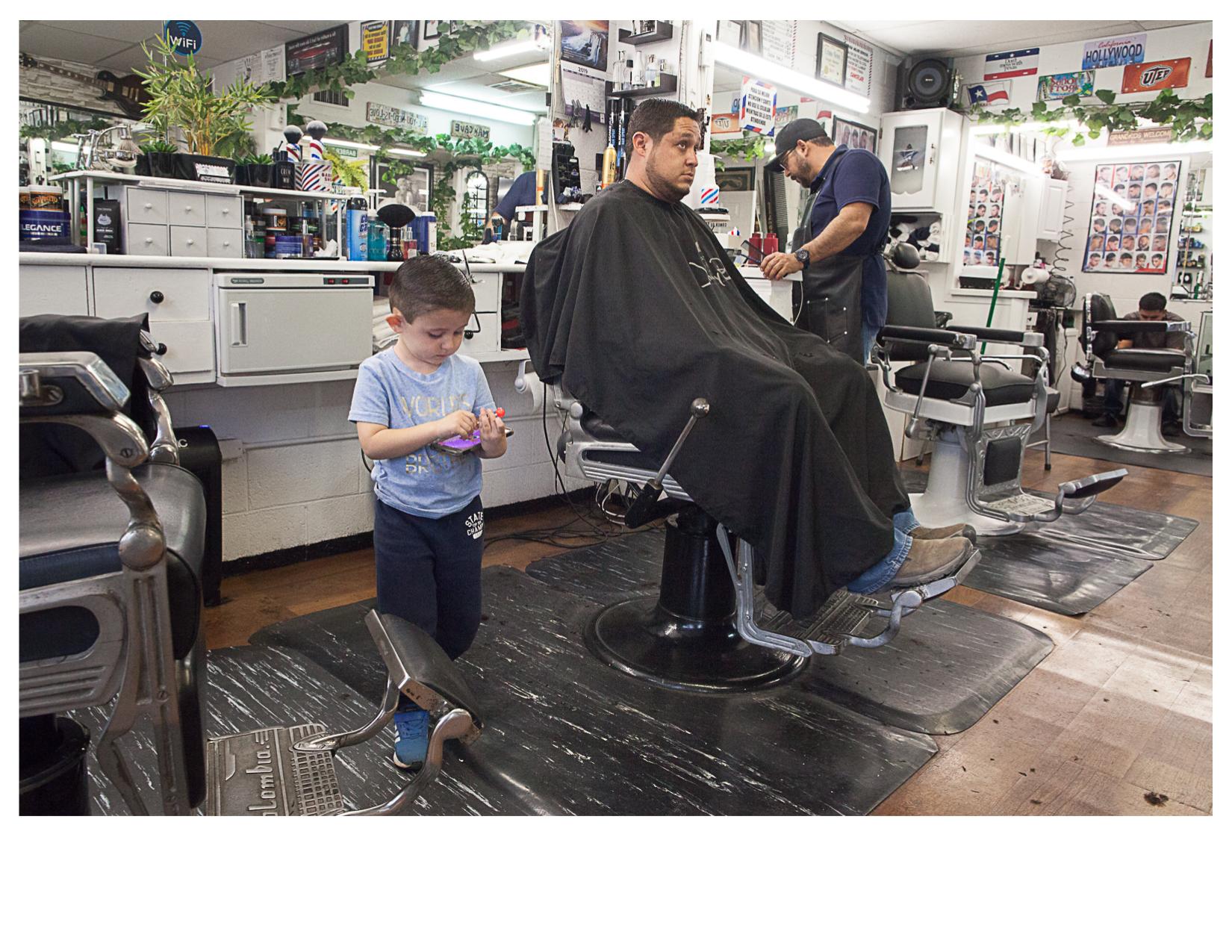 Eric and his Dad, Inside Sergio's Barbar Shop, El Paso, TX