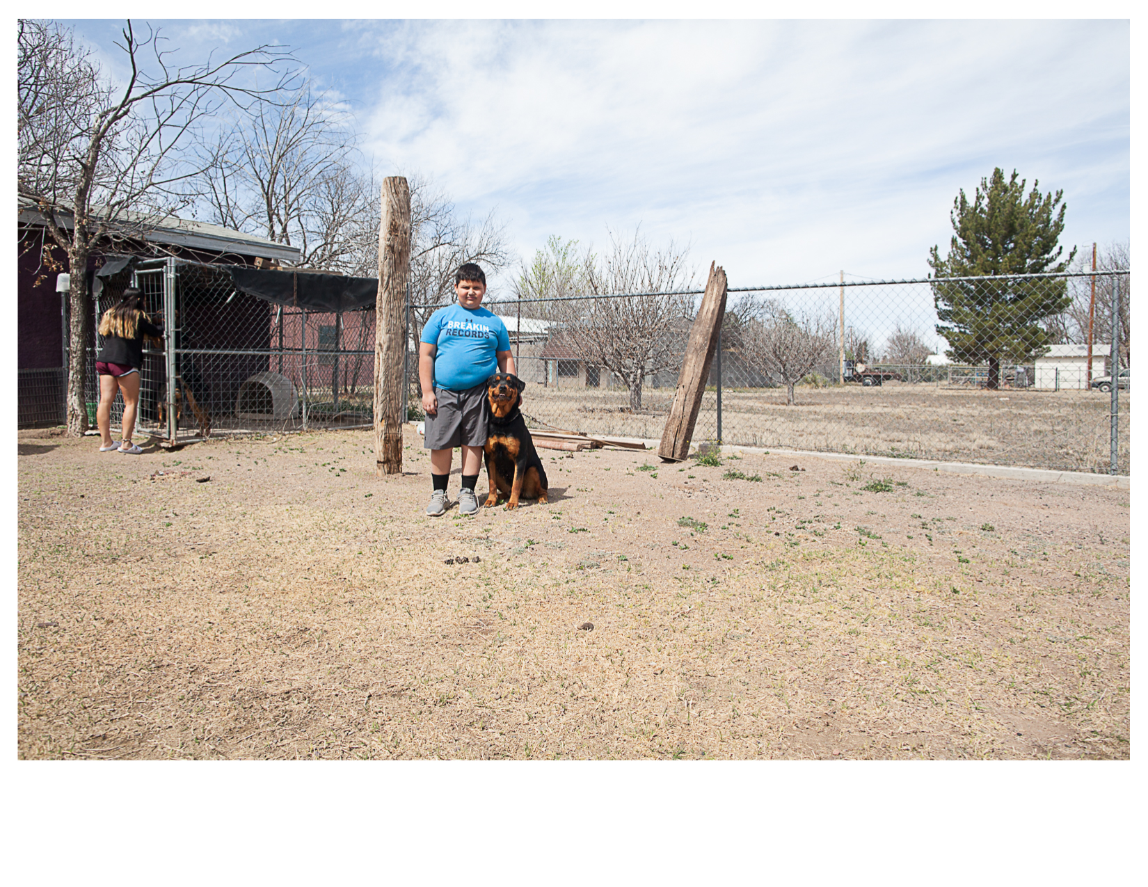 Aidyn and Payne, the Rottweiler, Marfa, TX