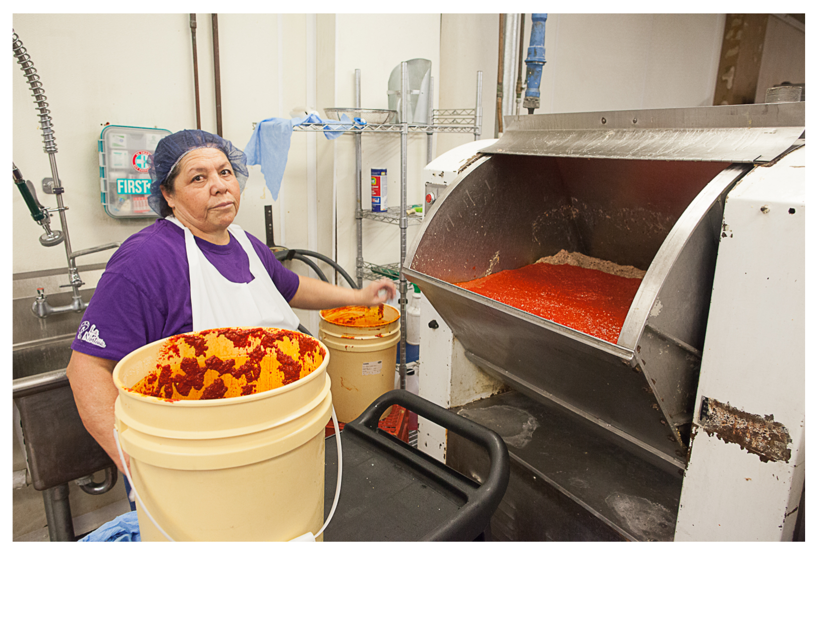 Alma Making Chile Masa, La Norteña Tamale Factory, Pecos, TX