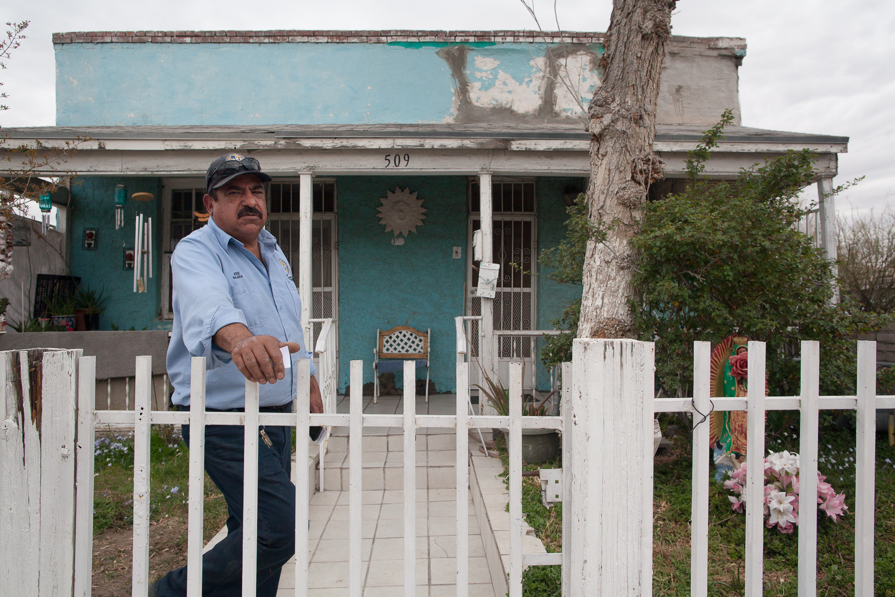 Jose outside his Mother's House in El Segundo Bario, El Paso, TX