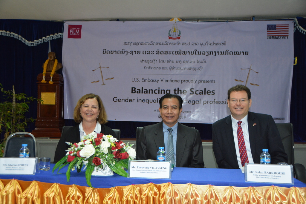 """Sharon participating in a panel discussion of """"Gender Equality in the Legal Profession"""" in Laos sponsored by the U.S. Embassy Vientiane."""