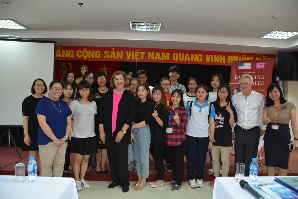 Sharon and students in Hanoi following the screening of Balancing the Scales.