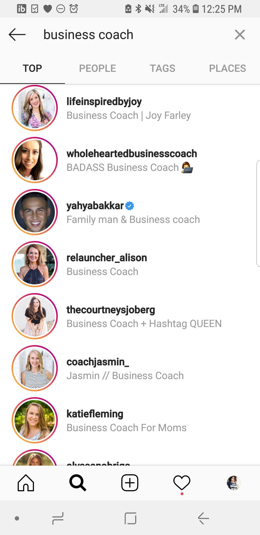 Make your Instagram profile search friendly by adding your title to the headline