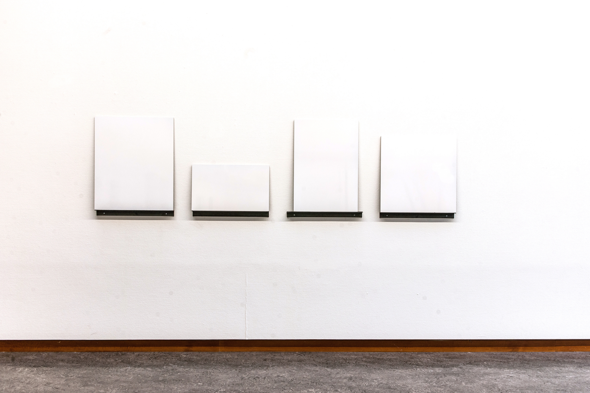 White Superficial , 2012 Lacquer on MDF, 60 x 220 cm  Neo Ego , Haugesund Billedgalleri, 2015 Photo: Gunhild Saltvik