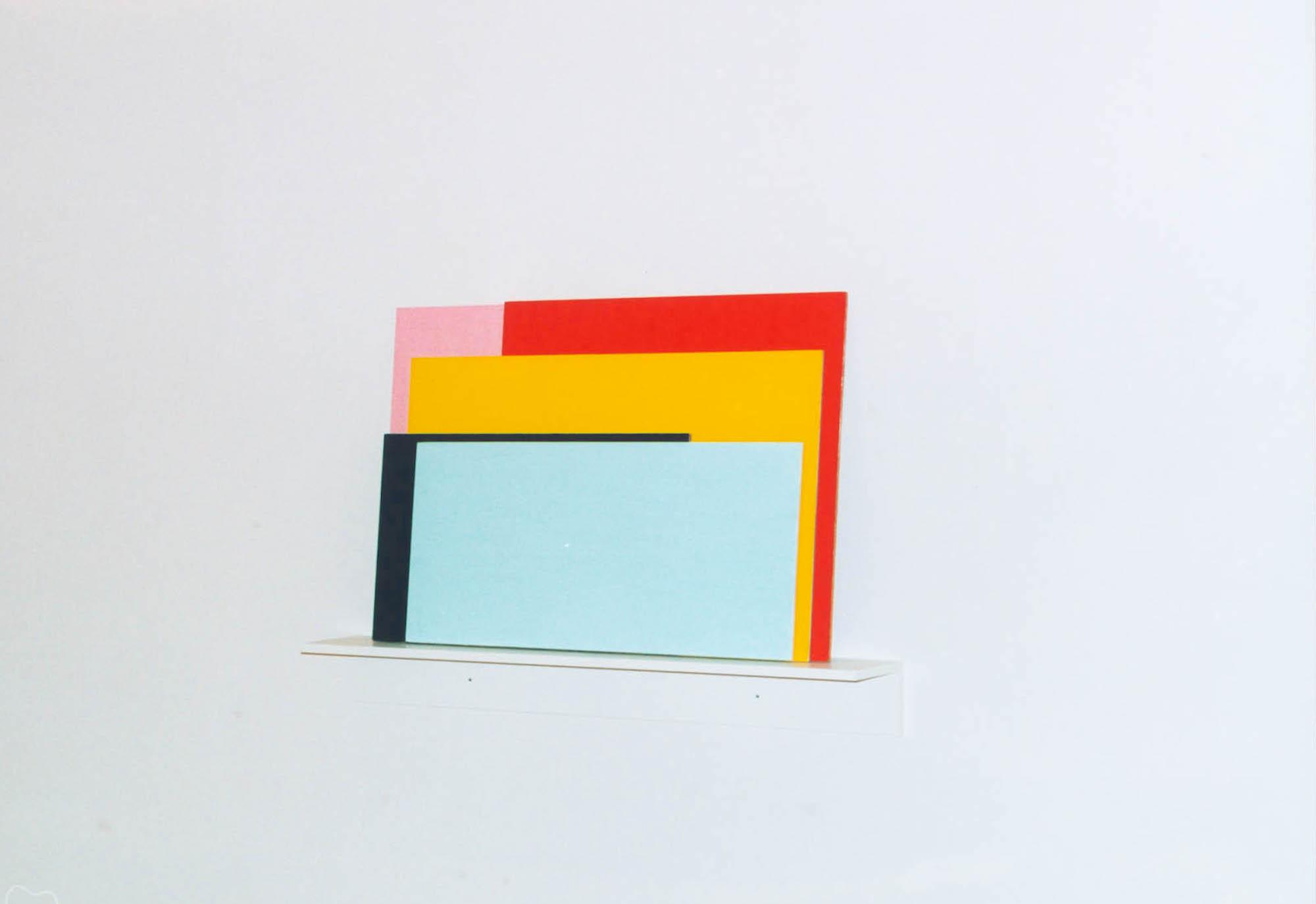 Solidarisk,  1998 Acrylic on wood, 70 x 60 cm  Konkret - Nonfigurativ kunst i Norge 1920-2000 , Bergen, Lillehammer og Trondheim Kunstmuseum, 2002