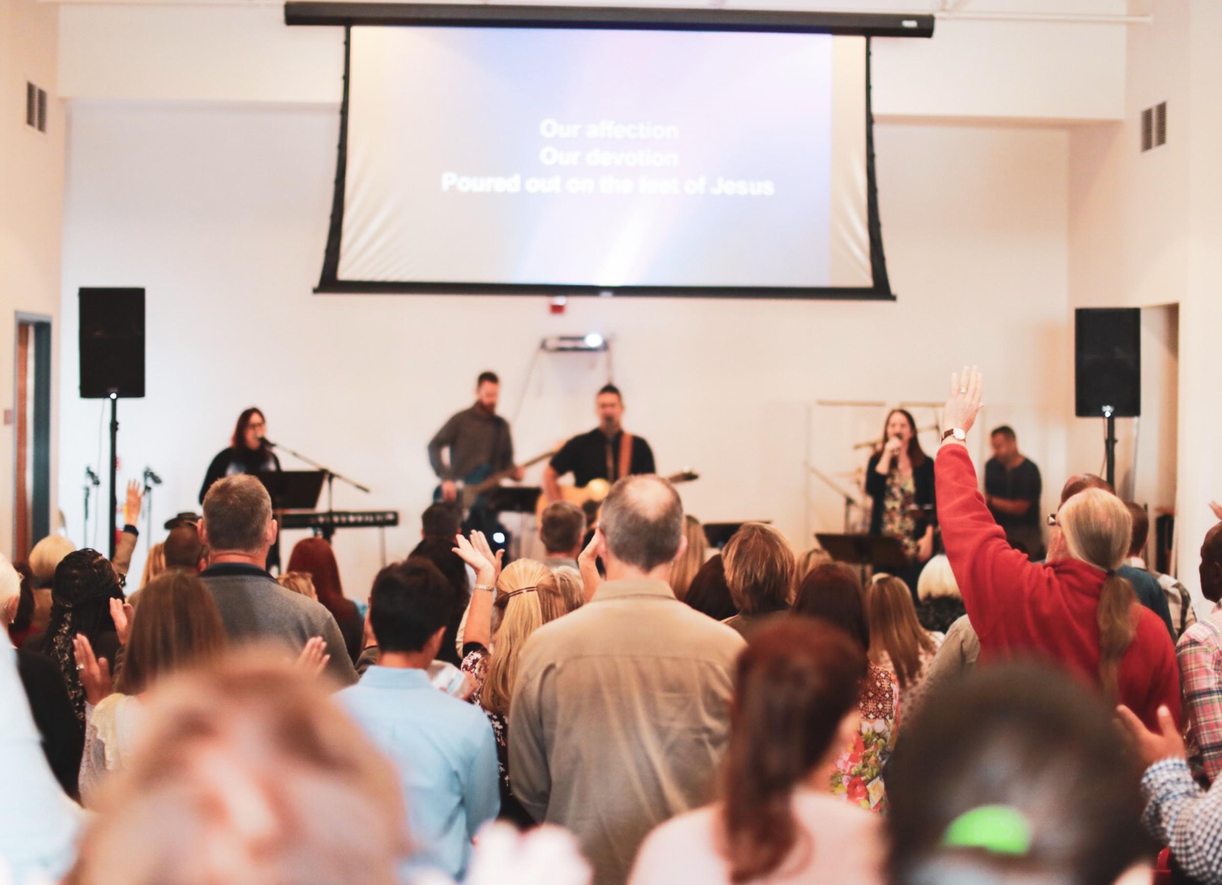 Worship at The Bridge during a Sunday Service