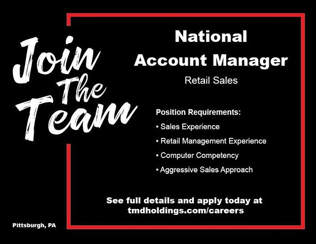 JOIN THE TEAM: We are looking for a bright new face to fill our National Account Manager position in the Pittsburgh office! Our ideal candidate should have sales experience, retail management experience, strong computer competency, and a team player attitude. They must have the ability to travel (company paid), an aggressive sales approach, and a drive for results.  As a member of the TMD family you'll enjoy a casual work environment, a pet-friendly office, and a generous PTO/Vacation schedule among other benefits!  Think you're a good fit? Go to tmdholdings.com/careers (link in bio) to see the full details and to apply today!
