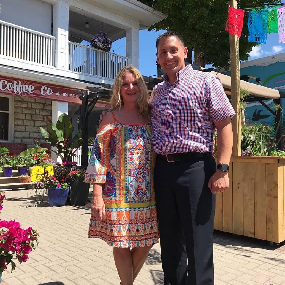 With MP Jamie Schmale at new Kawartha Coffee patio