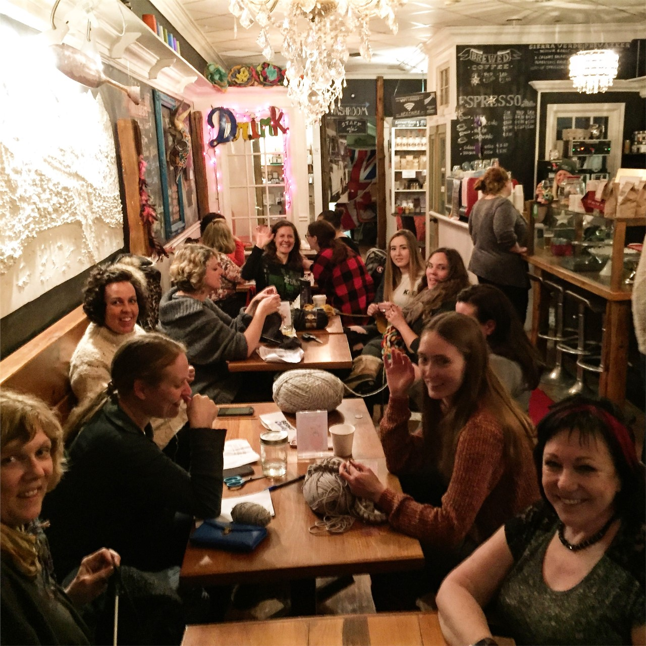 Knitting club — Kathleen has made Kawartha Coffee available to local groups for many years