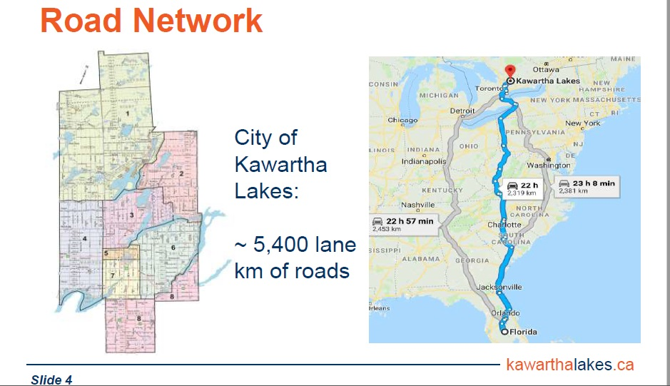 We own and maintain more roads than a return trip to Florida!    *Tip: Because the number of lanes can vary but each lane needs maintenance, roads are measured by 'lane km', so a 4-lane road would have 4 km total lane km and a 1-lane road would have 1 total lane km.