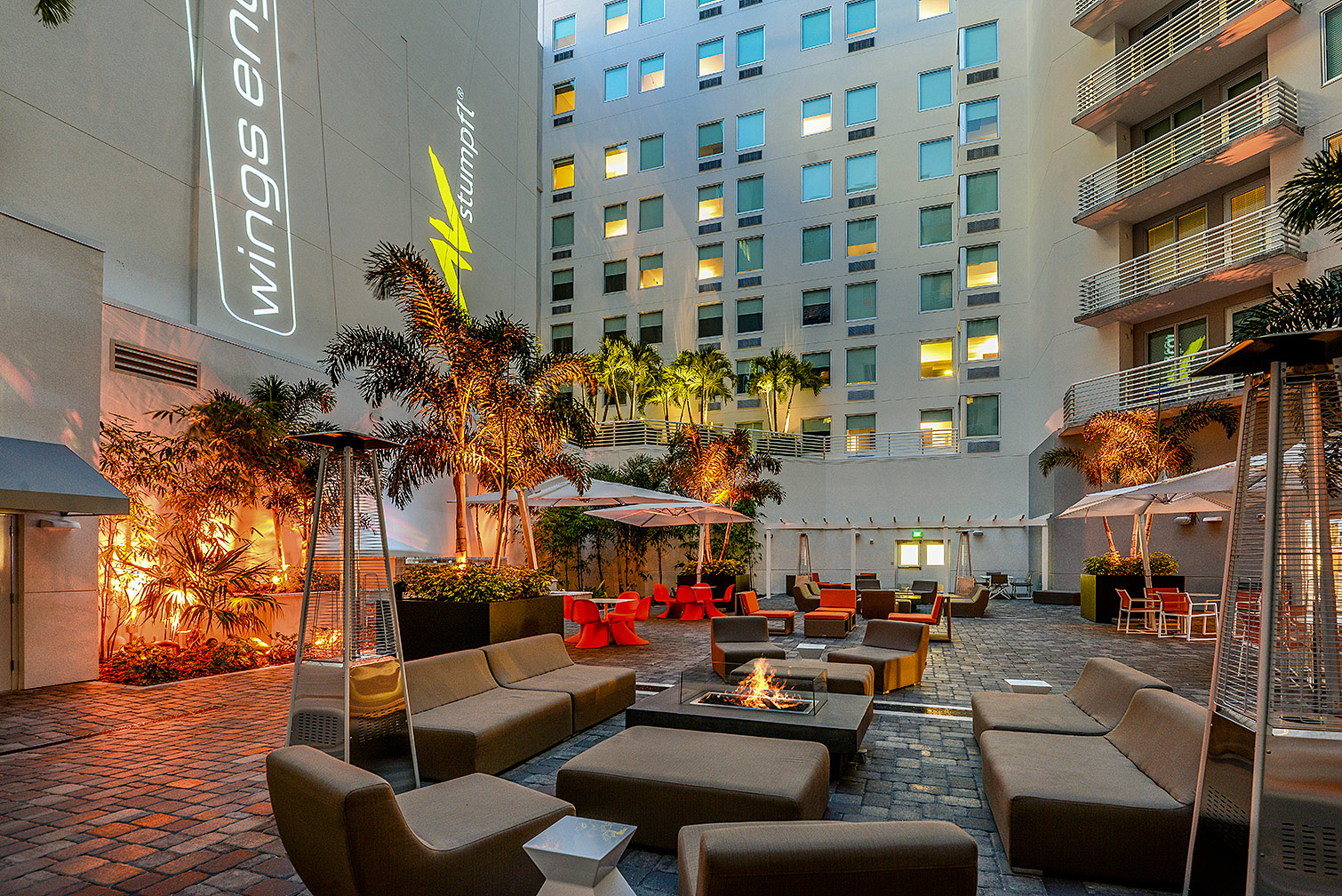 Aloft Hotel Courtyard at Night