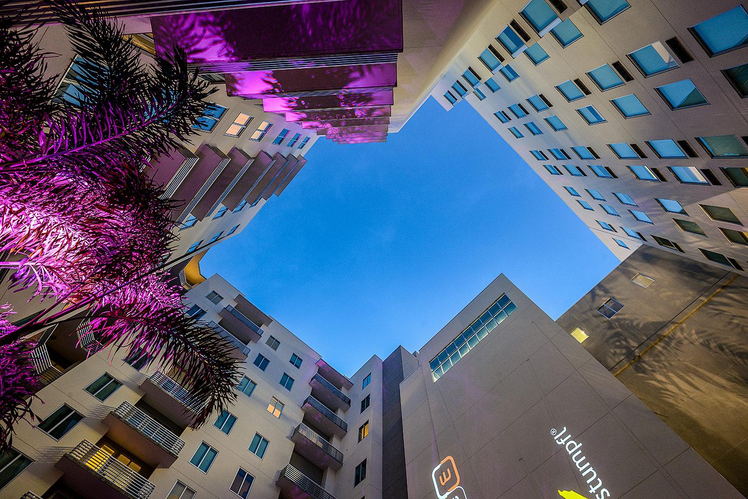 Hotel Courtyard Skyward View