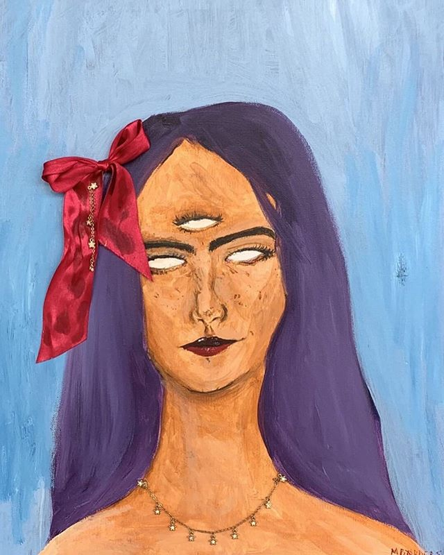 "This weeks featured Friday is Maxine Borders!! Maxine is a sophomore in VADA and here is what she has to say about her art: ""I draw a lot from pop culture and from my experience with people in my day to day life. My art is a huge representation of how I view the world and I don't really create any boundaries for myself when I paint."""