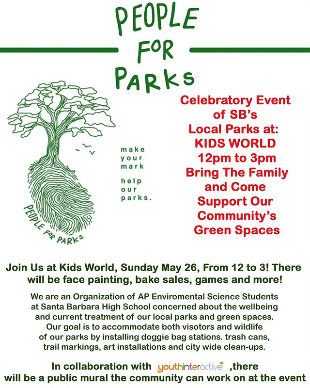 We are so excited for our environmental science juniors @sbpeopleforparks who have collaborated with @creativeanimalfoundation to provide the community with a creative outlet to share their experiences with our SB parks. Be sure to be part of this art piece this Sunday at Kids World from 12-3pm!🌎 #publicart #community #art #parksandrec #loveourplanet #loveourparks