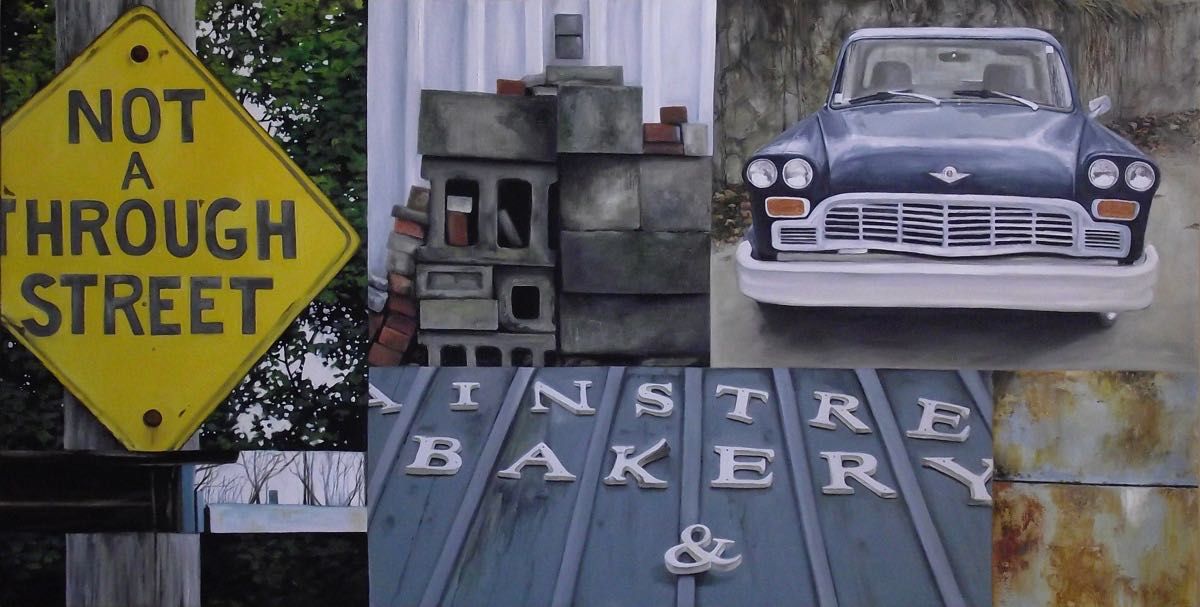 "mainstreet bakery, 2013, oil on canvas, 55"" x 28"""