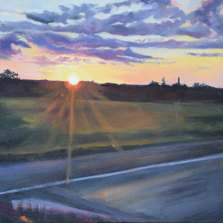 "sunset on the go, 2015, oil on canvas, 16"" x 16"""