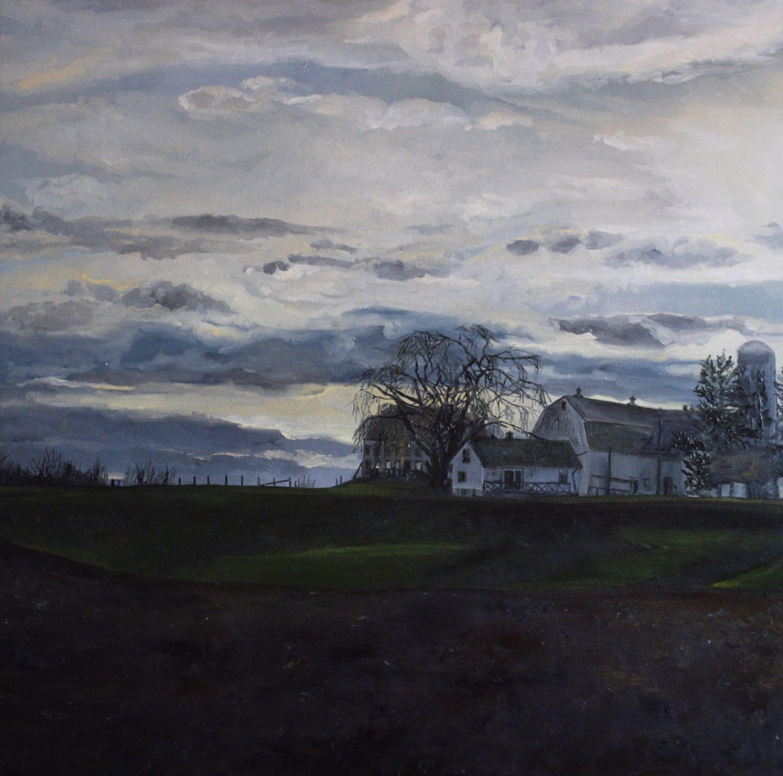 """farmers sunset, 2015, oil on canvas, 24"""" x 24"""""""